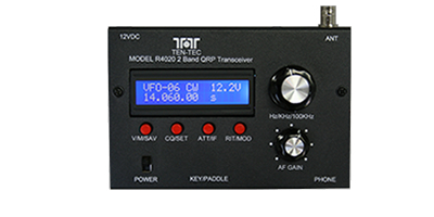 The Ten-Tec Model R4020 40/20 Meters field-portable QRP transceiver.